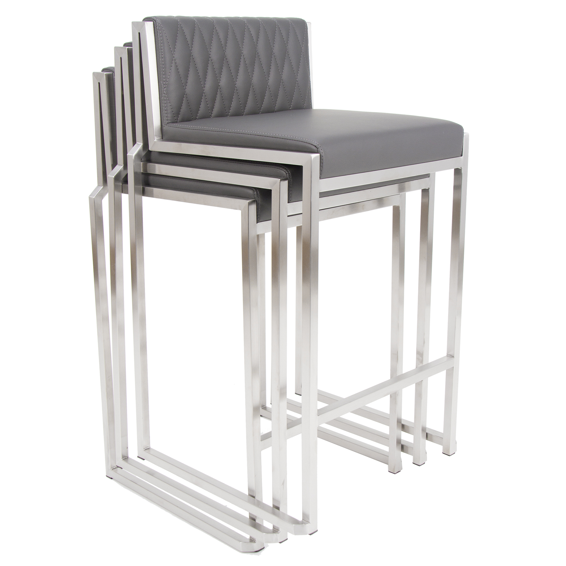 Stak Brushed Stainless Diamond Pattern Low Back Stackable 26 Inch
